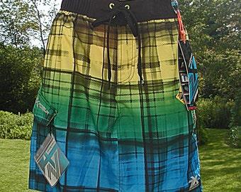 Womens Colorful Plaid Swim Skirt, Size L