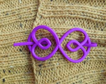 Hearts - Purple 3D Printed Shawl Pin | Shawl Pin | Sweater Closure