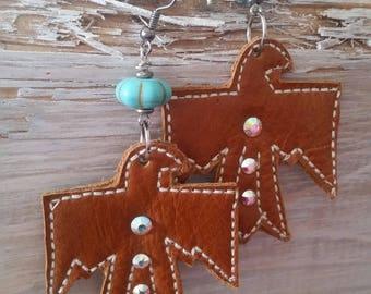 Leather earrings, thinderbird, turquoise, southwestern, western earrings, cowgirl jewelry, boho jewelry, bohemian earrings