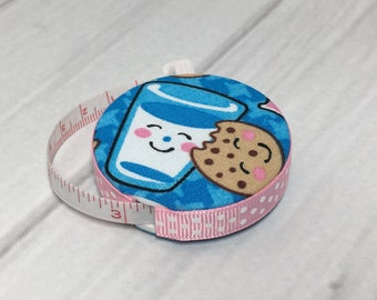 Milk & Cookies Fabric Covered Retractable Tape Measure