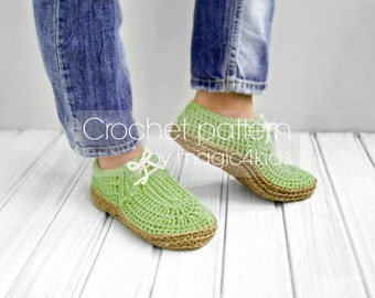 Crochet pattern-women moccasins with rope soles,soles pattern included,all female sizes,boots,shoes,loafers,slippers,adult,laced up,sneakers