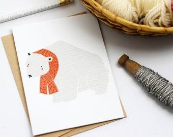 Merrily Polar Bear Card, Holiday Card, Merrily, Polar Bear Card, Winter Bear, Christmas Card, Cute Holiday Card, Fresh Holiday Cards