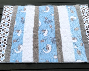 Blue and Grey textured baby boy quilt with Minky back