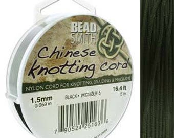 free UK postage - 5 meter of Chinese Knotting Cord by Beadsmith 1.5mm Black