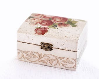 Wooden Jewelry Box Handmade Decoupage Beige Storage Box With Red Roses For Home Decor
