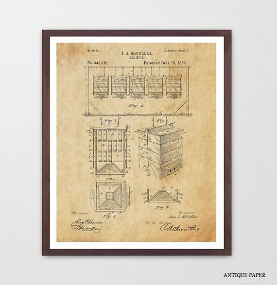 Beekeeping - Beekeeping Patent - Bee Hive - Bee Hive Patent - Bee Hive poster - Gardening Poster - Garden Art - Apiarist - Beekeeper