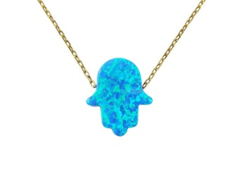 Hamsa Hand Necklace Opal Pendant Sterling silver Gold Plated Chain/ Hamsa Hand Necklace