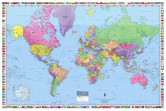 World map poster 36x24 rolled laminated 2018 gumiabroncs Choice Image