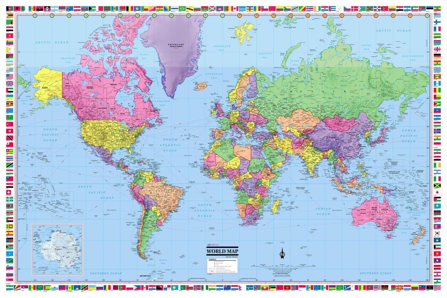 world map poster 36x24 rolled laminated 2018. Black Bedroom Furniture Sets. Home Design Ideas
