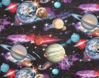 Fabulous In Space Astronomy Print Pure Cotton Fabric--By the Yard
