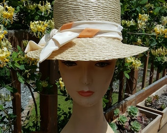 1960's Mr. Philippe of Paris Cream Straw Vintage Fedora With Bow