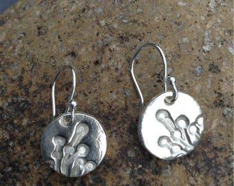 Fine silver hedgerow pattern circular drop earrings