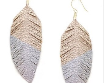 Rose Gold & Silver Leather Feather Earrings