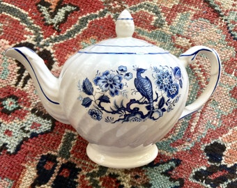 Vintage Blue and White Ironstone Teapot- Made in England Ellgreave Ironstone