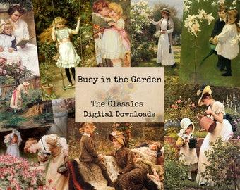 Busy in The Garden - Digital Ephemera Classics, Digital Images, Vintage Art, Instant Download, Digital Paper, Digital Collage