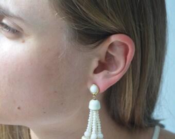 Ivory PomPom End Tassel Earrings