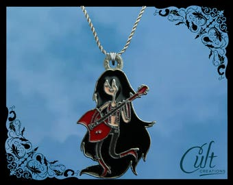 Adventure Time sterling silver / faux leather necklace with Marceline charm