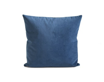 Blue Suede Velvet Pillow | Velvet Decorative Pillow | Suede Blue Cushion | Home Decor