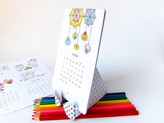 2018 Printable coloring calendar Cute printable desk