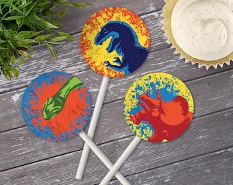 "Dinosaur Party 2"" Cupcake Topper - Dinosaur Birthday, 2"" Circle Tag | Editable Text - DIY Instant Download PDF Printable"