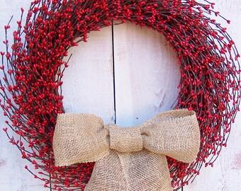 Spring Front Door Wreath-Spring Home Decor-Year Round-Spring Door Wreath-Front Door Wreath-Summer Wreath-RUSTIC Burlap Red Berry Door Wreath