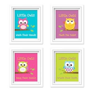 Owl Bathroom Prints   Little Owls Wash Their Hands Print   Kids Bathroom  Decor   Bathroom