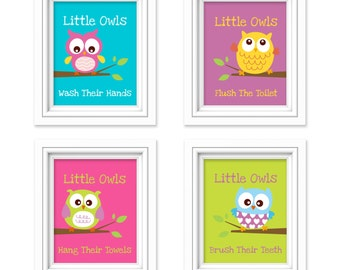 Owl Bathroom Prints   Little Owls Wash Their Hands Print   Kids Bathroom  Decor   Bathroom Decor   Bathroom Rules   Set Of 4 Prints