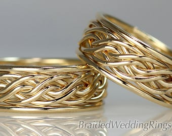 2 Hand Braided Wedding Rings, This Set is solid 14k Yellow Gold. The Bold Set