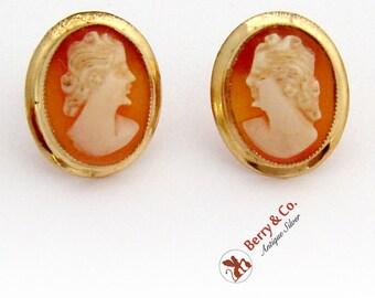 Splendid Shell Cameo Post Earrings Screw Backs 14K Yellow Gold 1920