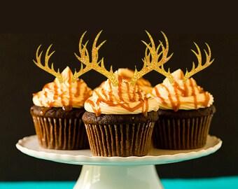 Antler Cupcake Toppers Deer Cupcake Topper Party Decor Deer Head Cupcake Topper Party Decorations Cupcake Toppers