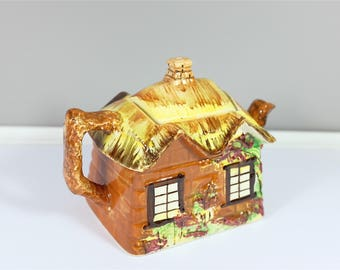 """Vintage Teapot """"Cottage Ware"""" by Price Bros - Retro ceramic tea pot made in England Price Brothers - Entitled Ye Olde Cottage"""