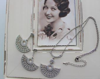 Art Deco Earrings,  Necklace set , Vintage Style Crystal  Earrings,  Wedding Earrings,  Filigree  Earrings,  Stud Earrings, Great Gatsby