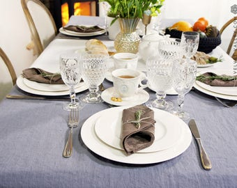 Dark charcoal grey linen tablecloth- softened stonewashed linen tablecloth- rectangular, round, square, custom sizes