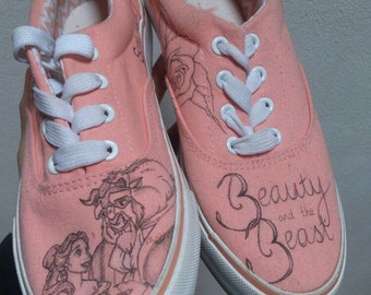 Handdrawn shoes inspired by the Beauty and the Beast