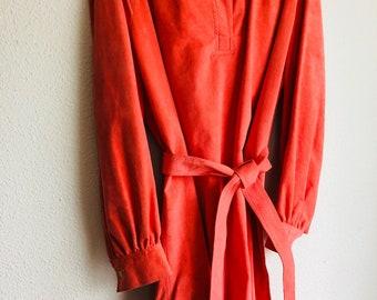 Shirt Dress Suede Dress Coral Pink Wrap Waist