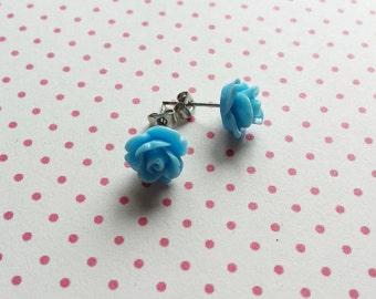 Sky blue rose ear stud earrings - blue flower bridesmaids gift - free shipping
