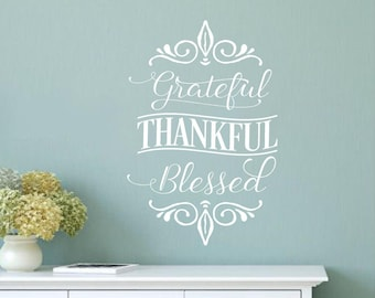 Grateful Thankful Blessed- faith Vinyl Lettering wall decal words decal family custom graphics decals bedroom Home decor itswritteni & Grape wall decal   Etsy