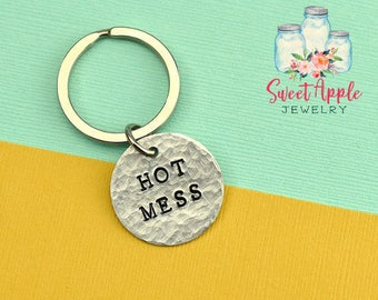 Hot Mess Keychain, Hot Mess Keyring, Gift For Mom, Funny Gift, Couple Keychain, Wife Gift, Funny Keychain, Quirky Keyring, Stamped Keychain