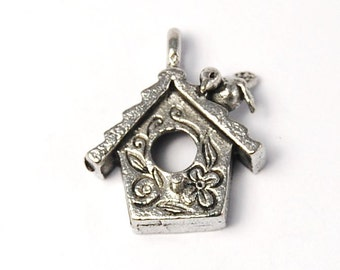 Bird House Silver Pewter Charm -1