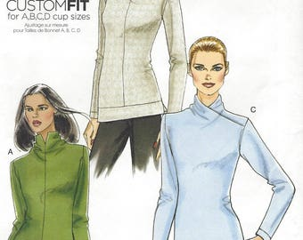 Womens High Collar Tops or Tunics Stretch Knits Only Sleeve Variations OOP Vogue Sewing Pattern V8616 Size 14 16 18 20 22 Bust 36 to 44 FF