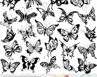 Instant Download Digital Butterfly Clip Art Butterfly Silhouette Scrapbook Butterfly Element Black White Butterfly Clipart 0038
