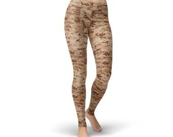 Tan Camouflage Leggings