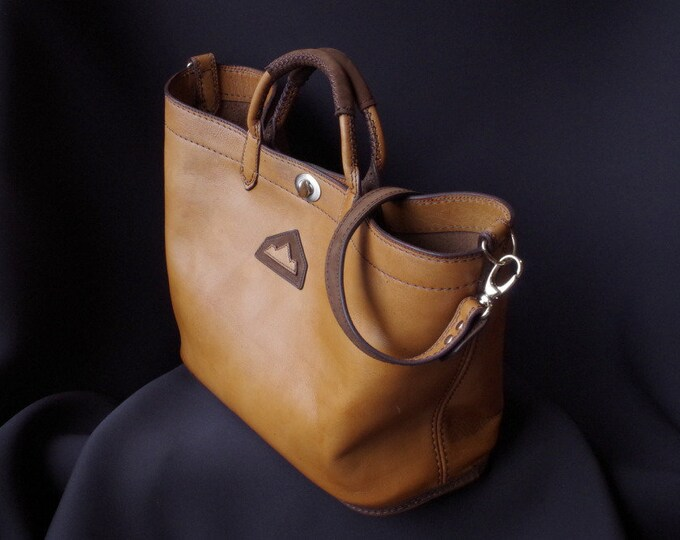 large Ochre yellow leather tote bag