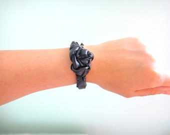 Black Leather Fabric Bracelet Black Rose Bracelet Extravagant Bracelet Contemporary Style