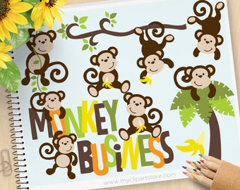 Monkey Clipart, Monkey Business, Cute monkeys, boy monkey, woodland animals, jungle animals, Commercial Use, Vector clip art, SVG Cut Files