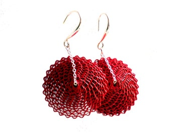 Large Red Earrings, 1st Anniversary Gift, Paper Earrings, Paper Bead Jewelry, Gift for Mom, Bold Round Statement Earrings, Babelfish