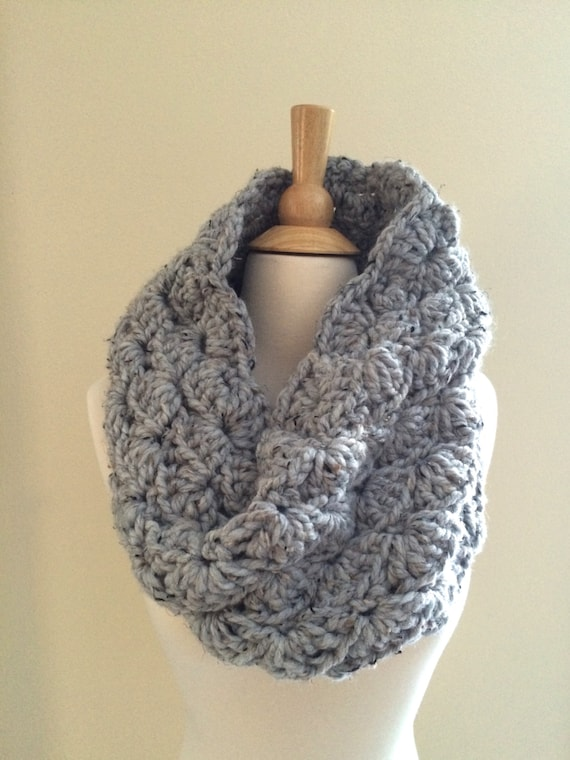 DIY Crochet Pattern: Sophie Cowl, Super Bulky Lacy Infinity Scarf ...