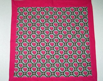 Baby Doll Blanket, Gothic Skulls Blanket,  For Dolls, 13 14 15 16 18 inch Dolls, Pinks and Greens