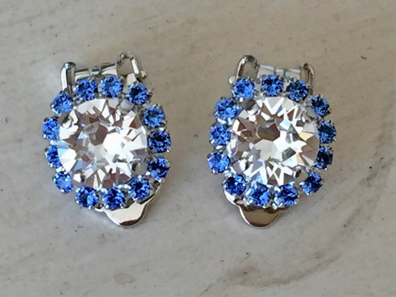 Clear and Sapphire Crystal Halo Clip On Earrings, Silver