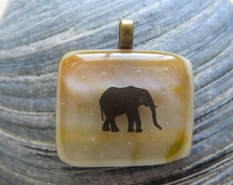 0230 - Elephant Fused Glass Pendant